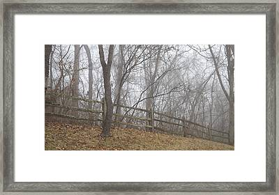 Fence And Fog Framed Print by Don Koester