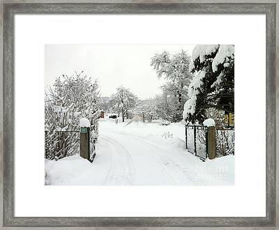 Framed Print featuring the photograph Fence And  Gate In Winter by Wilhelm Hufnagl