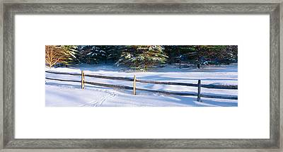 Fence And Snow In Winter, Vermont Framed Print by Panoramic Images