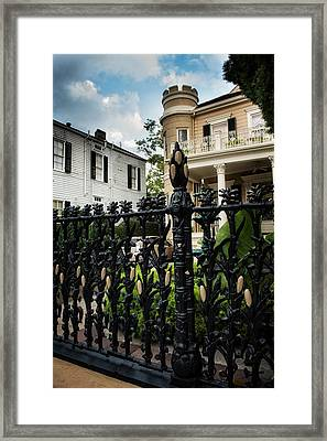 Fence At Cornstalk Hotel Framed Print by Chrystal Mimbs