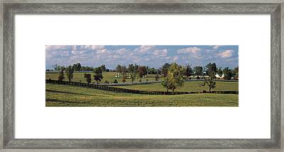 Fence In A Pasture, Lexington, Fayette Framed Print