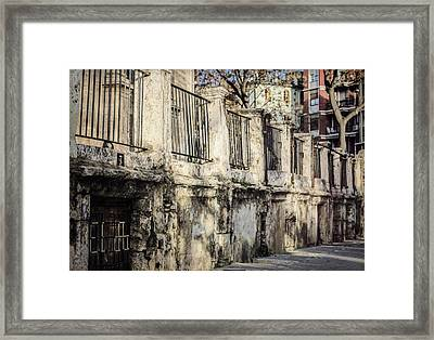 Fence In Light And Shadow Framed Print by Joan Carroll