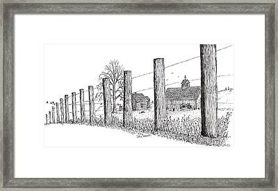 Framed Print featuring the drawing Fence Line 1 by Jack G  Brauer