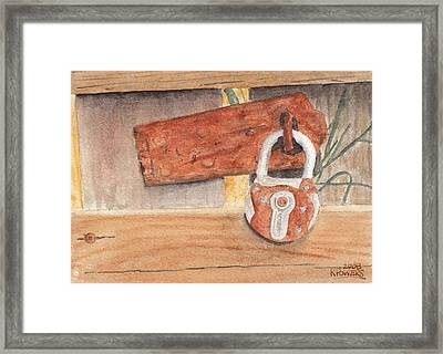Fence Lock Framed Print by Ken Powers