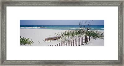 Fence On The Beach, Alabama, Gulf Framed Print by Panoramic Images