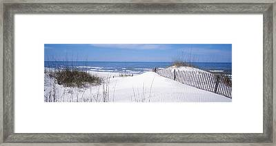 Fence On The Beach, Gulf Of Mexico, St Framed Print