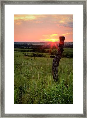 Framed Print featuring the photograph Fence Post At Sunset by Scott Bean