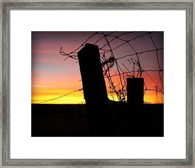 Fence Sunrise Framed Print by Kathy M Krause