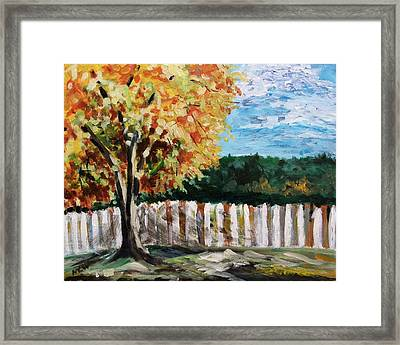 Framed Print featuring the painting Fence Under The Maple by Mary Carol Williams