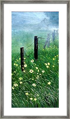 Fence With A Ghost House Framed Print by Robert Thomaston