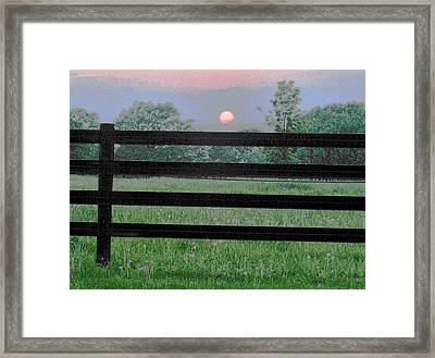 Fenced Sunset 2 Framed Print by Brian Foxx