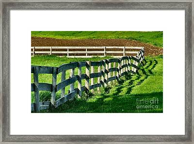 Fences And Shadows Framed Print