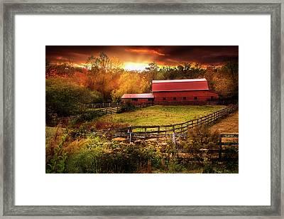 Fences At Sunset Framed Print