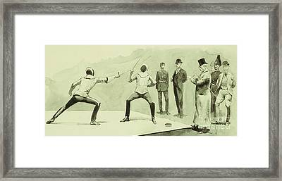 Fencing At Dickel's Academy Framed Print by Frederic Remington