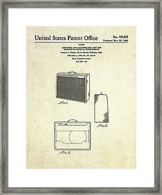 1962 Fender Amp Patent Art Framed Print by Gary Bodnar