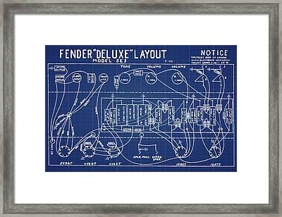 Fender Deluxe Layout Model 5e3 In Blue Print Framed Print