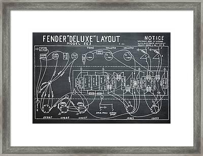 Fender Deluxe Layout Model 5e3 In Chalk Framed Print