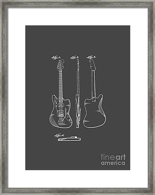 Fender Guitar Drawing Tee Framed Print by Edward Fielding
