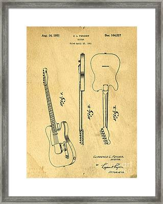 Fender Guitar Patent Framed Print by Edward Fielding
