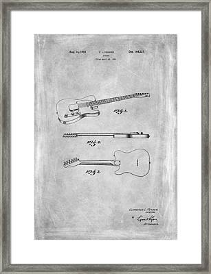 Fender Guitar Patent From 1951 Framed Print by Mark Rogan