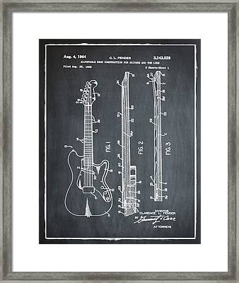 Fender Stratocaster Patent 1964 Chalk Framed Print by Bill Cannon