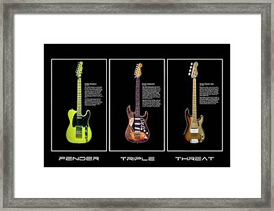 Fender Triple Threat Framed Print by Peter Chilelli
