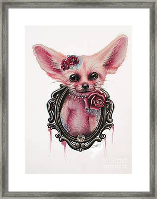 Framed Print featuring the drawing Fennec Fox by Sheena Pike