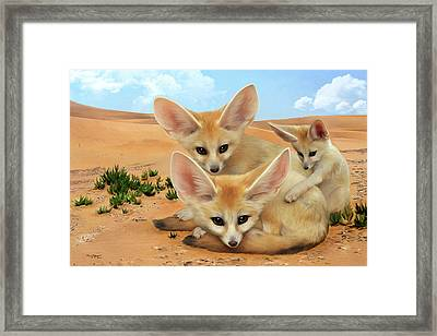 Framed Print featuring the digital art Fennec Foxes by Thanh Thuy Nguyen