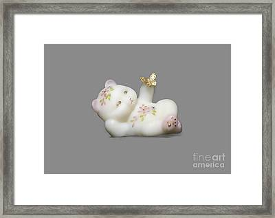 Framed Print featuring the pyrography Fenton Bear Cutout by Linda Phelps