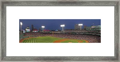Fenway Park And Boston Skyline Framed Print