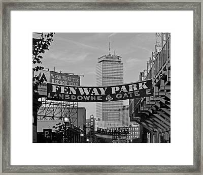 Fenway Park Banners Boston Ma Black And Whtie Framed Print by Toby McGuire