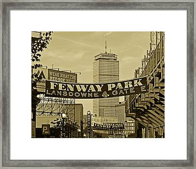 Fenway Park Banners Boston Ma Sepia Framed Print by Toby McGuire