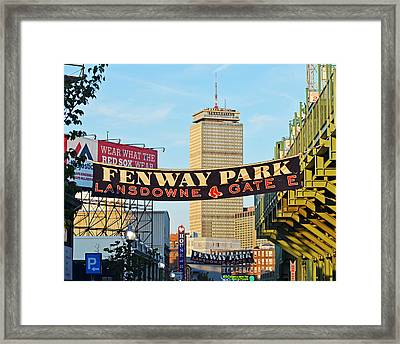 Fenway Park Banners Boston Ma Framed Print by Toby McGuire