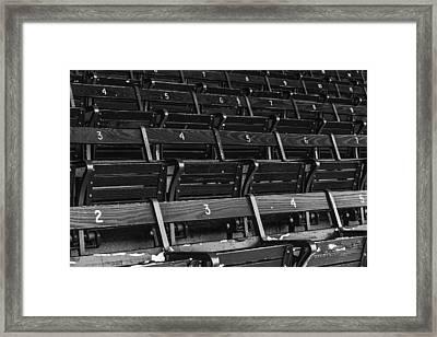 Fenway Park Blue Bleachers Bw Framed Print