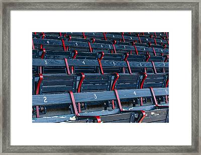 Fenway Park Blue Bleachers Framed Print by Susan Candelario
