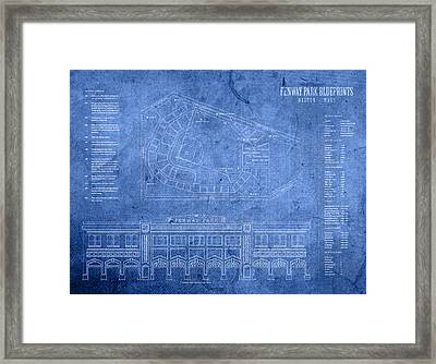 Fenway Park Blueprints Home Of Baseball Team Boston Red Sox On Worn Parchment Framed Print