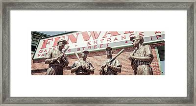 Fenway Park Bronze Statues Panorama Photo Framed Print by Paul Velgos