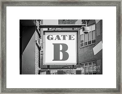 Fenway Park Gate B Sign Black And White Photo Framed Print