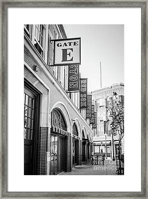 Fenway Park Gate E Entrance Black And White Photo Framed Print