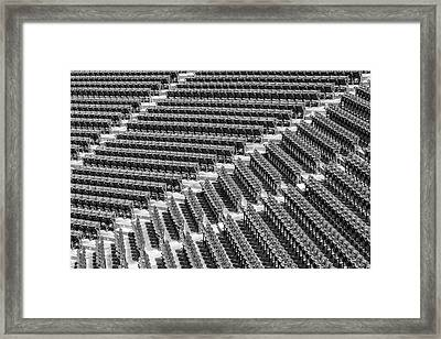 Fenway Park Green Bleachers Bw Framed Print