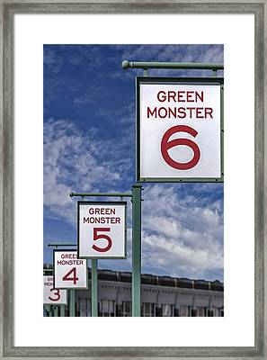 Fenway Park Green Monster Section Signs Framed Print by Susan Candelario