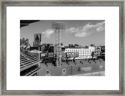 Fenway Park Green Monster Wall Bw Framed Print by Susan Candelario