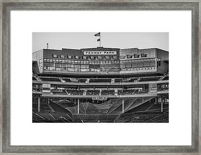 Fenway Park Interior Bw Framed Print by Susan Candelario