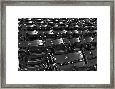 Fenway Park Red Bleachers Bw Framed Print by Susan Candelario