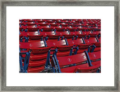 Fenway Park Red Bleachers Framed Print by Susan Candelario