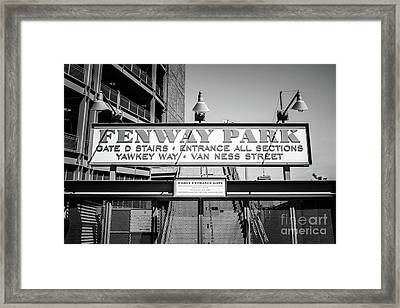 Fenway Park Sign Black And White Photo Framed Print by Paul Velgos