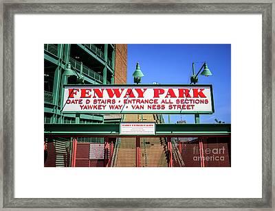 Fenway Park Sign Gate D Entrance Photo Framed Print by Paul Velgos