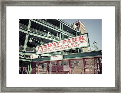 Fenway Park Sign Gate D Retro Photo Framed Print by Paul Velgos