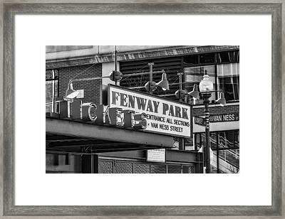 Fenway Park Tickets Bw Framed Print
