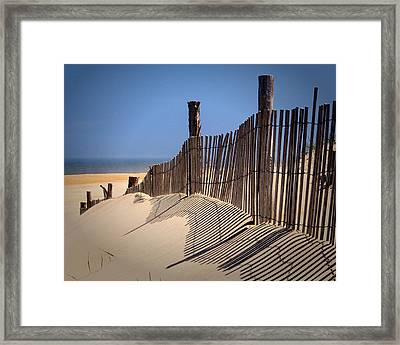 Fenwick Dune Fence And Shadows Framed Print